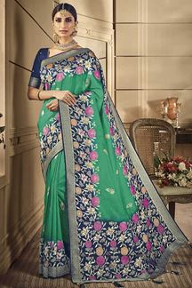 Picture of Designer Green & Blue Classic Party Wear Silk Saree