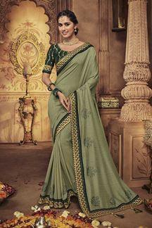 Picture of Designer Sea Green Party Wear Silk Saree