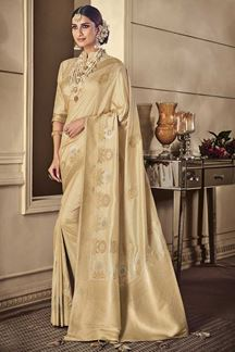 Picture of Designer Beige color Classic Party Wear Silk Saree