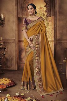 Picture of Designer Mustard Yellow & Violet Party Wear Silk Saree