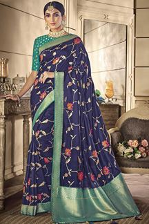 Picture of Designer Blue and Green color Classic Party Wear Silk Saree