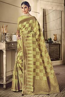 Picture of Designer Pista Green Colored Classic Party Wear Silk Saree
