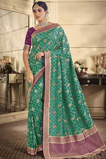 Picture of Designer Green & Violet Classic Party Wear Silk Saree