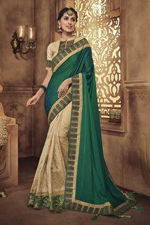 Picture of Designer Green & Beige  Party Wear Silk Saree