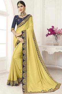 Picture of Yellow & Navy Blue Designer Party Wear Vichitra Silk Saree