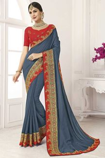 Picture of Grey & Red Designer Party Wear Vichitra Silk Saree
