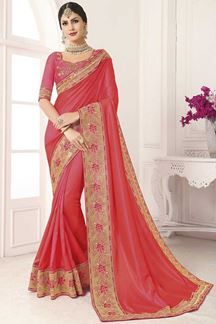 Picture of Peach Designer Party Wear Vichitra Silk Saree