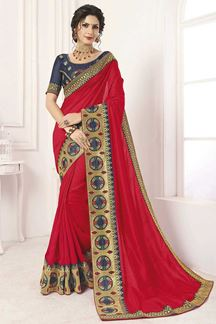 Picture of Red & Navy Blue Designer Party Wear Vichitra Silk Saree