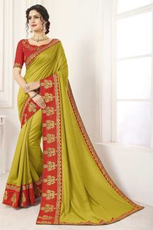 Picture of Olive & Red Designer Party Wear Vichitra Silk Saree
