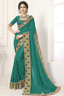 Picture of Green Designer Party Wear Vichitra Silk Saree