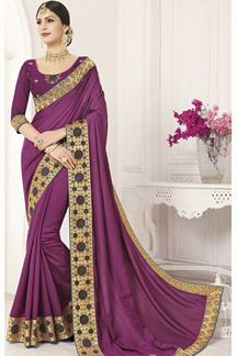 Picture of Violet Designer Party Wear Vichitra Silk Saree