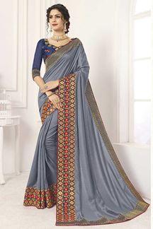 Picture of Grey & Blue Designer Party Wear Vichitra Silk Saree
