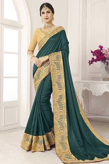 Picture of Green & Cream Designer Party Wear Vichitra Silk Saree