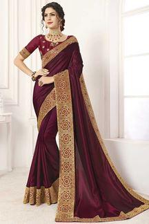 Picture of Maroon Designer Party Wear Vichitra Silk Saree