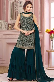 Picture of Elegant Bottle Green Colored Party Wear Embroidered Palazzo Suit