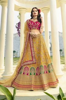 Picture of Yellow & Rani Pink Designer Heavy Wedding Wear Bridal Lehenga