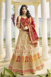 Picture of Off-White & Red Designer Heavy Wedding Wear Bridal Lehenga