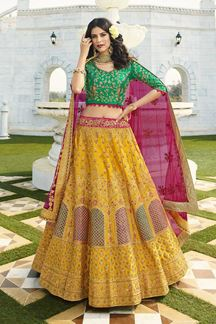Picture of Yellow & Green Designer Heavy Wedding Wear Bridal Lehenga