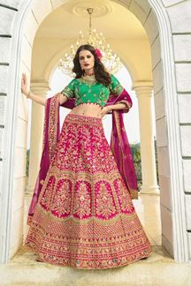 Picture of Rani Pink & Green Designer Heavy Wedding Wear Bridal Lehenga