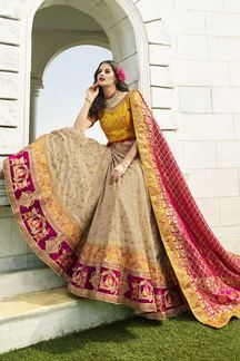 Picture of Beige & Yellow Designer Heavy Wedding Wear Bridal Lehenga