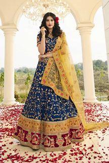 Picture of Blue & Yellow Designer Heavy Wedding Wear Bridal Lehenga