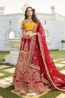 Picture of Red & Yellow Designer Heavy Wedding Wear Bridal Lehenga