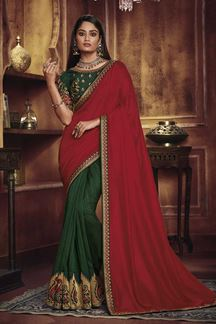 Picture of Designer Red & Green Colored Party Wear Satin Silk Saree