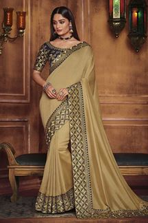 Picture of Designer Golden & Navy Blue Colored Party Wear Satin Silk Saree