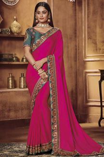 Picture of Designer Pink & Green Colored Party Wear Satin Silk Saree