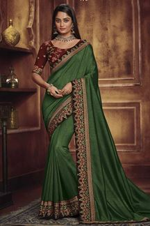 Picture of Designer Green & Maroon  Colored Party Wear Satin Silk Saree