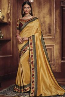 Picture of Designer Party Yellow & Maroon  Colored Wear Satin Silk Saree