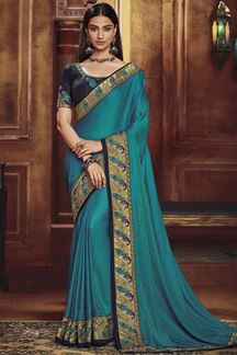 Picture of Designer Teal Blue & Navy Blue  Colored Party Wear Satin Silk Saree