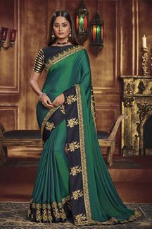 Picture of Designer Green & Black Colored Party Wear Satin Silk Saree