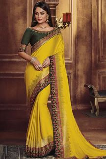 Picture of Designer Yellow & Forest Green Colored Party Wear Satin Silk Saree
