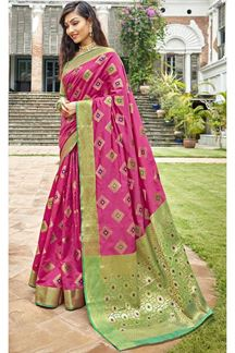 Picture of Rani Pink & Green Latest Classic Designer Art Silk Saree