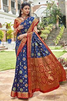 Picture of Blue & Red Latest Classic Designer Art Silk Saree