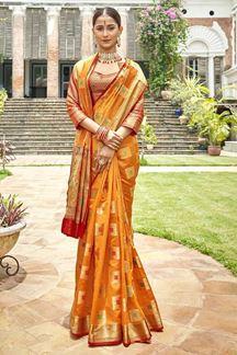 Picture of Orange & Red Latest Classic Designer Art Silk Saree