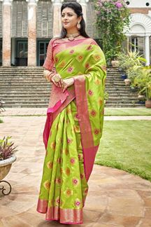 Picture of Light Green & Pink Latest Classic Designer Art Silk Saree