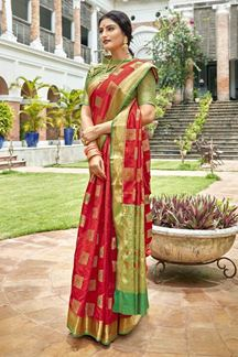 Picture of Red & Green Latest Classic Designer Art Silk Saree