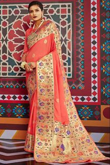 Picture of Gajari Colored Designer Classic Wear Pure Silk Saree