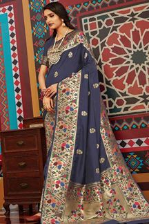 Picture of Navy Blue Designer Classic Wear Pure Silk Saree
