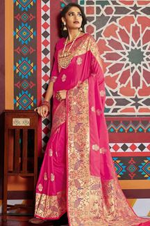 Picture of Designer Pink Color Classic Wear Pure Silk Saree