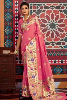 Picture of Pink Designer Classic Wear Pure Silk Saree