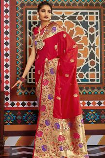 Picture of Red Designer Classic Wear Pure Silk Saree