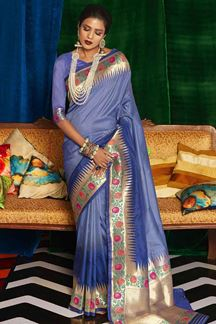 Picture of Majesty Blue Colored Designer Classic Wear Silk Saree