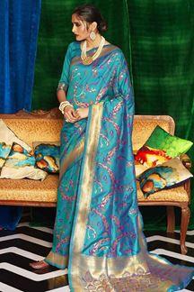 Picture of Trendy Sky Blue Designer Classic Wear Silk Saree