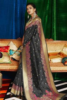 Picture of Desiring Black Designer Classic Wear Silk Saree