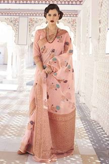 Picture of Delightful Pink Designer Fancy Wear Karaft Linen Saree