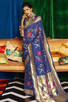 Picture of Authentic Blue Colored Designer Classic Wear Silk Saree