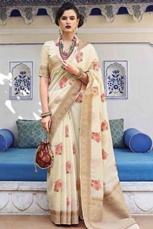 Picture of Desirable Cream Designer Fancy Wear Karaft Linen Saree